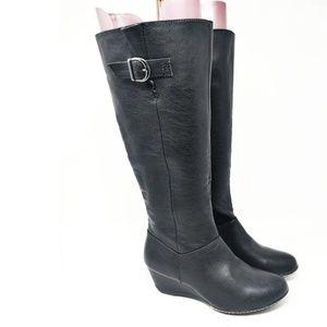 SOFFT Eurosoft Black Fashion Knee High Wedge Boots